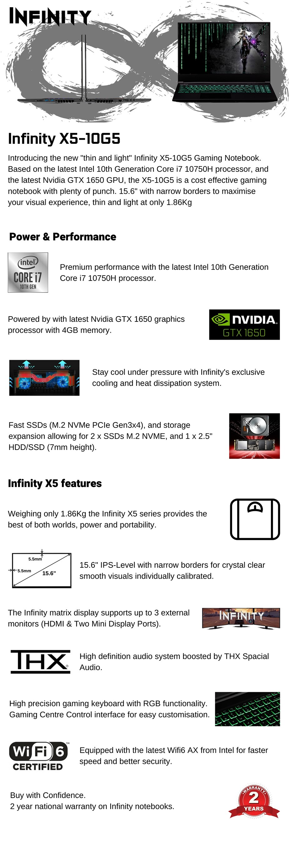 "Infinity X5-10G5-788 15.6"" Gaming Laptop i7-10750H 16GB 512GB GTX1650 W10H - Overview 1"