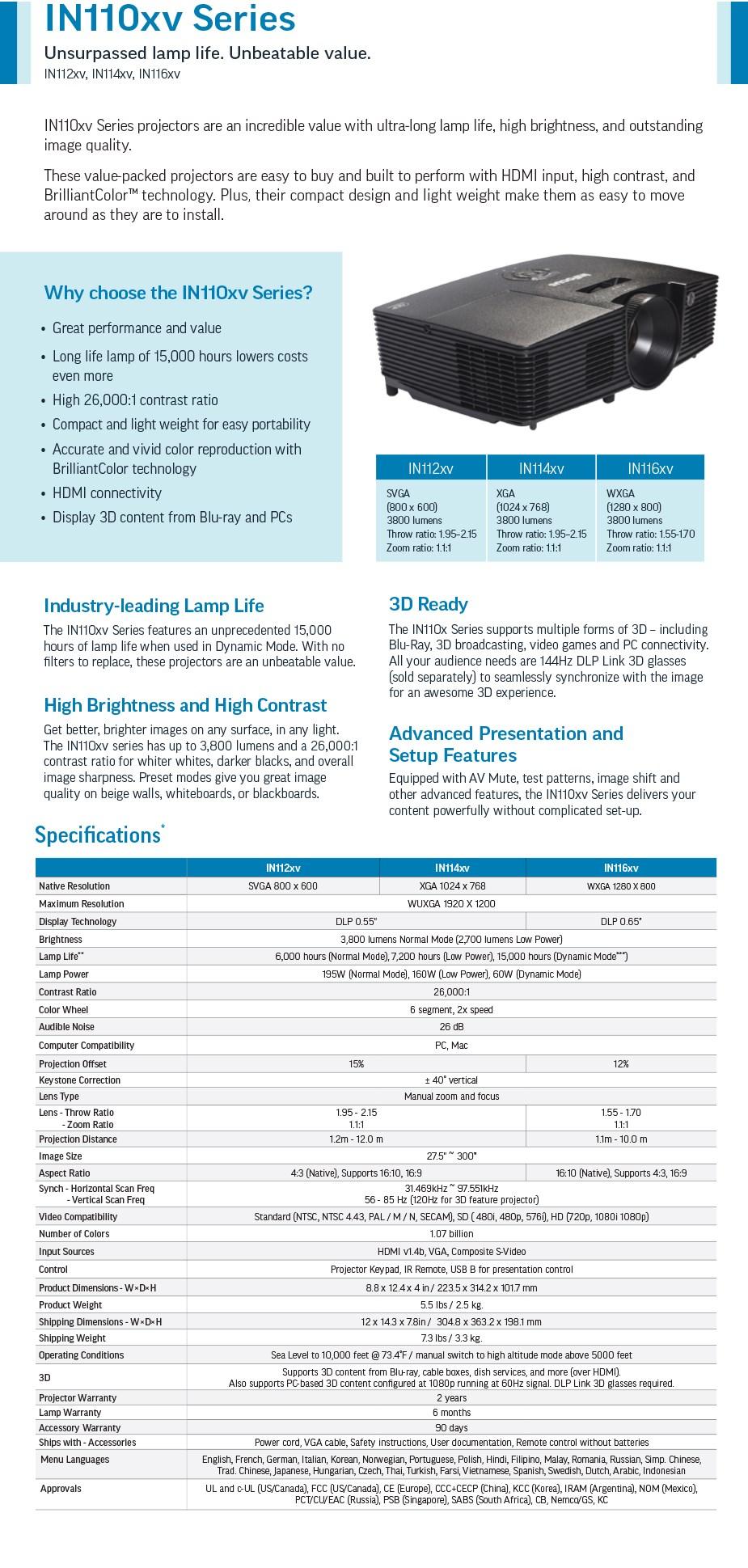 InFocus IN116XV WXGA DLP Projector - Overview 1