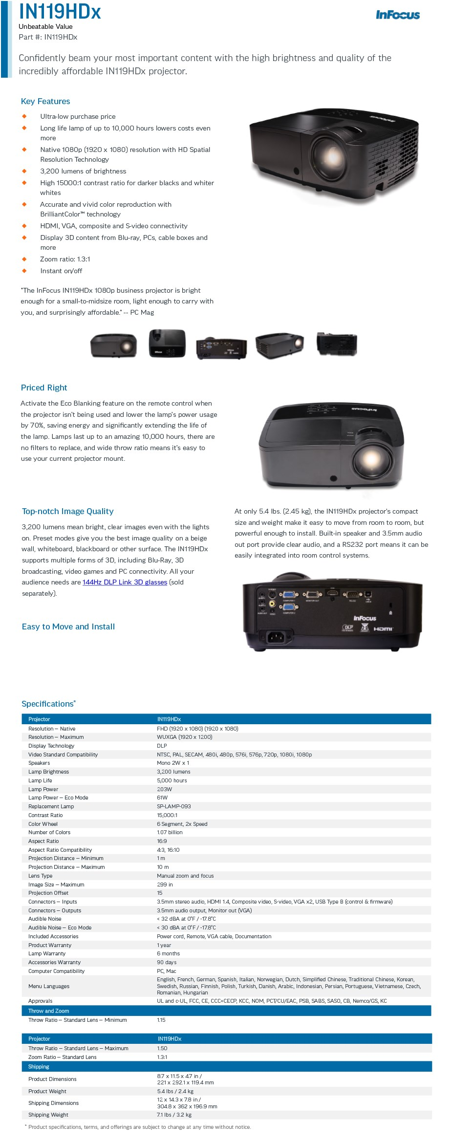 InFocus IN119HDX Full HD DLP Projector - Overview 1