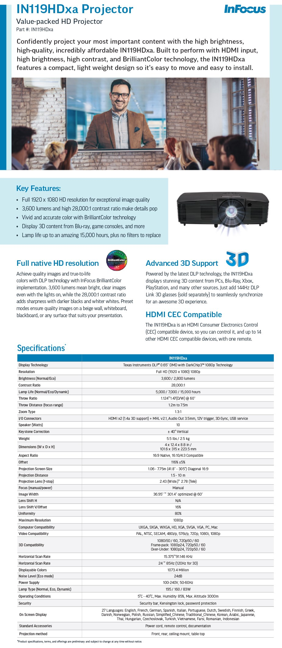 InFocus IN119HDXA Full HD DLP Projector - Overview 1