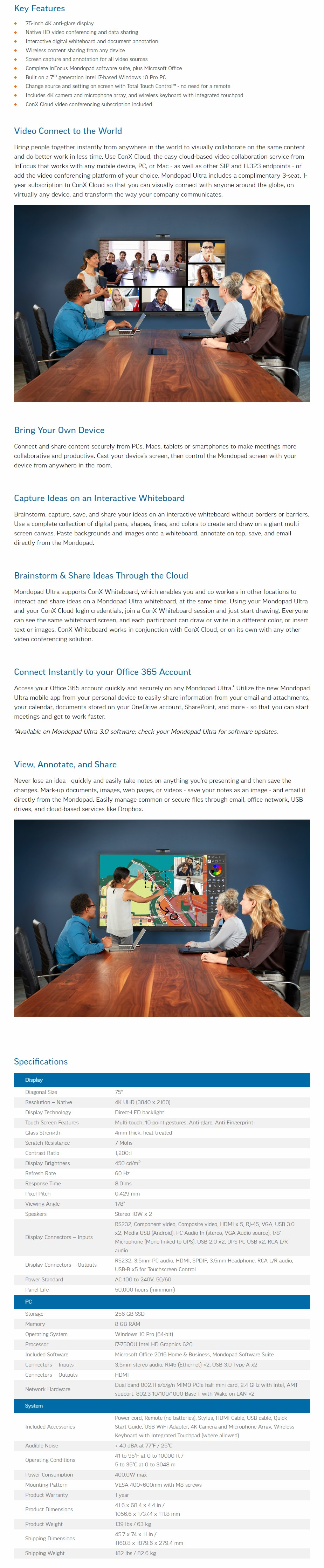 "InFocus Mondopad Ultra 4K UHD 75"" Touch Display - Win10 Pro - Overview 1"