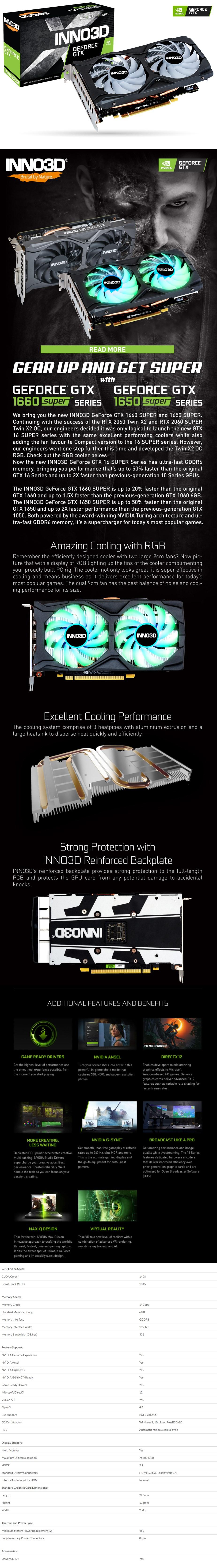 Inno3D GeForce GTX1660 SUPER Twin X2 OC RGB 6GB Video Card - Overview 1