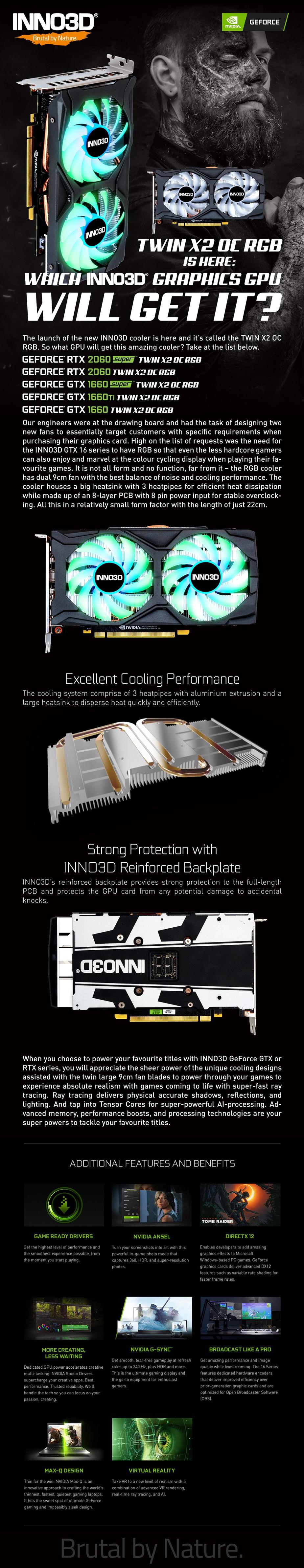 Inno3D GeForce RTX 2060 SUPER Twin X2 RGB OC 8GB Video Card - Overview 1