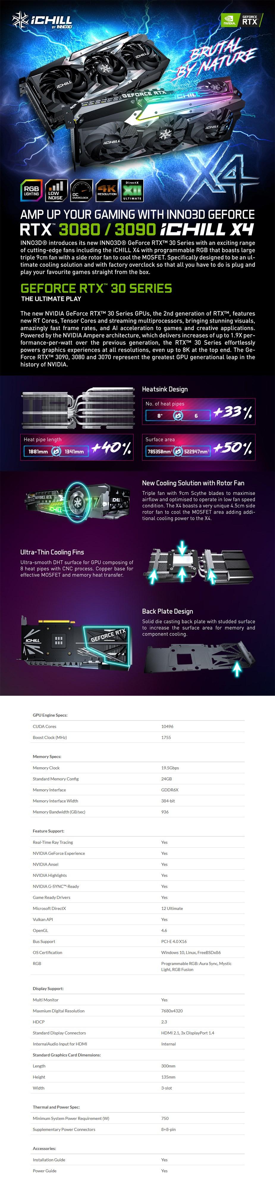 Inno3D GeForce RTX 3090 iChill X4 24GB Video Card - Overview 1