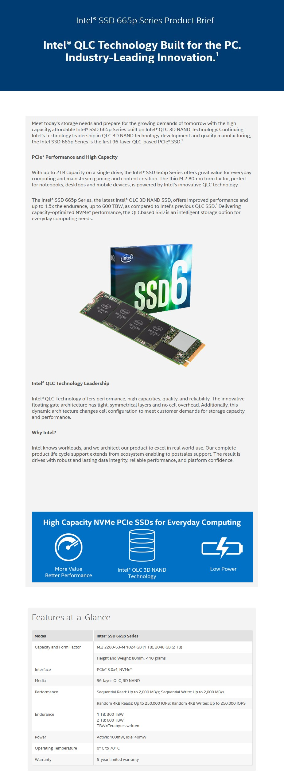 Intel 665p 2TB M.2 PCIe NVMe 3.0 x4 3D NAND SSD SSDPEKNW020T901 - Overview 1