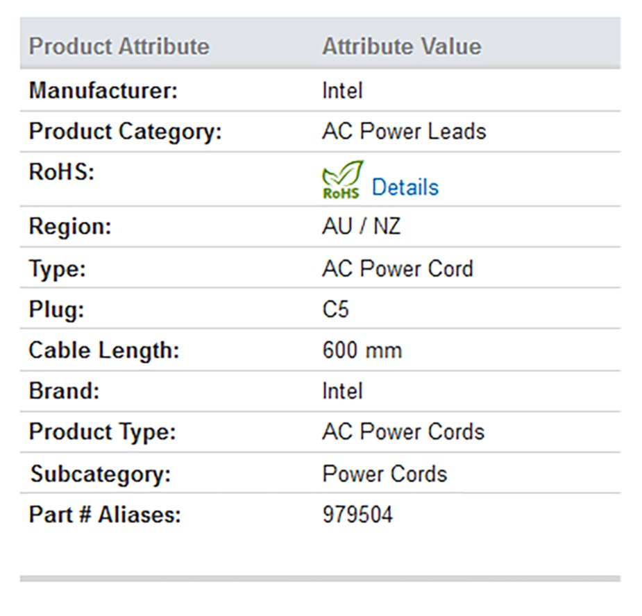 Intel AC06C05AU AU powercord AC CORD - Overview 1