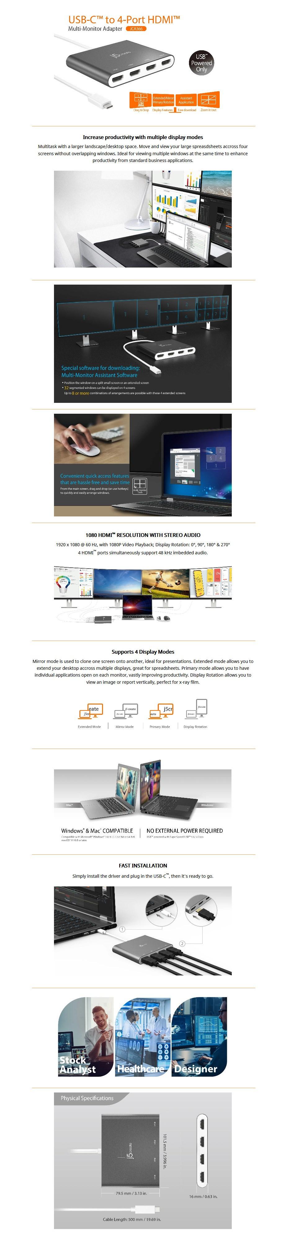j5create JCA366 4-Port Multi-Monitor USB-C to HDMI Adapter - Overview 1