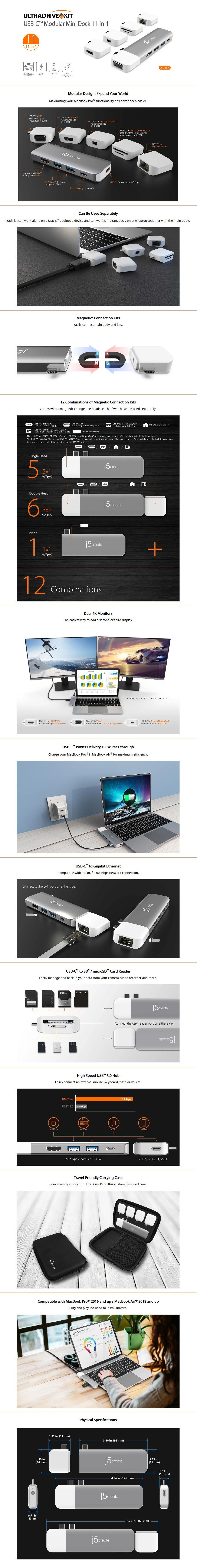 j5create JCD389 ULTRADRIVE Kit Modular Multi-Display USB-C Dock - Overview 1