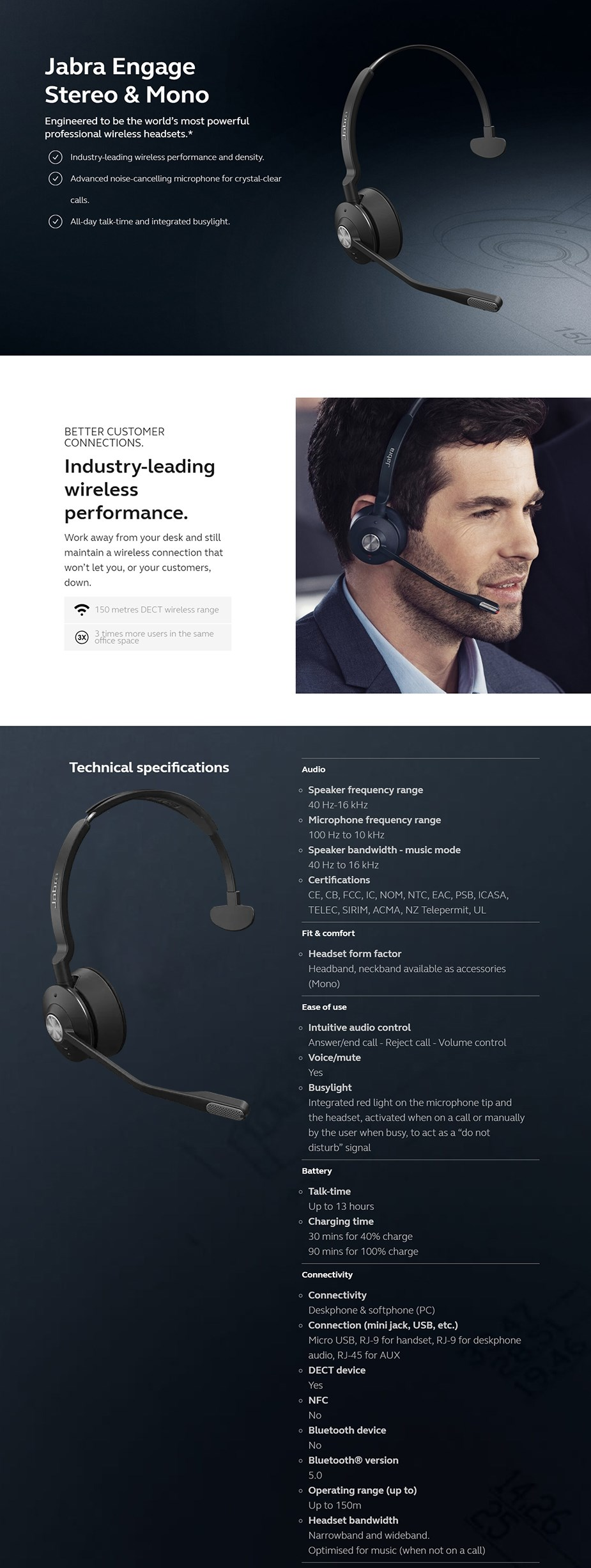 Jabra Engage Mono Replacement Headset  - Overview 1