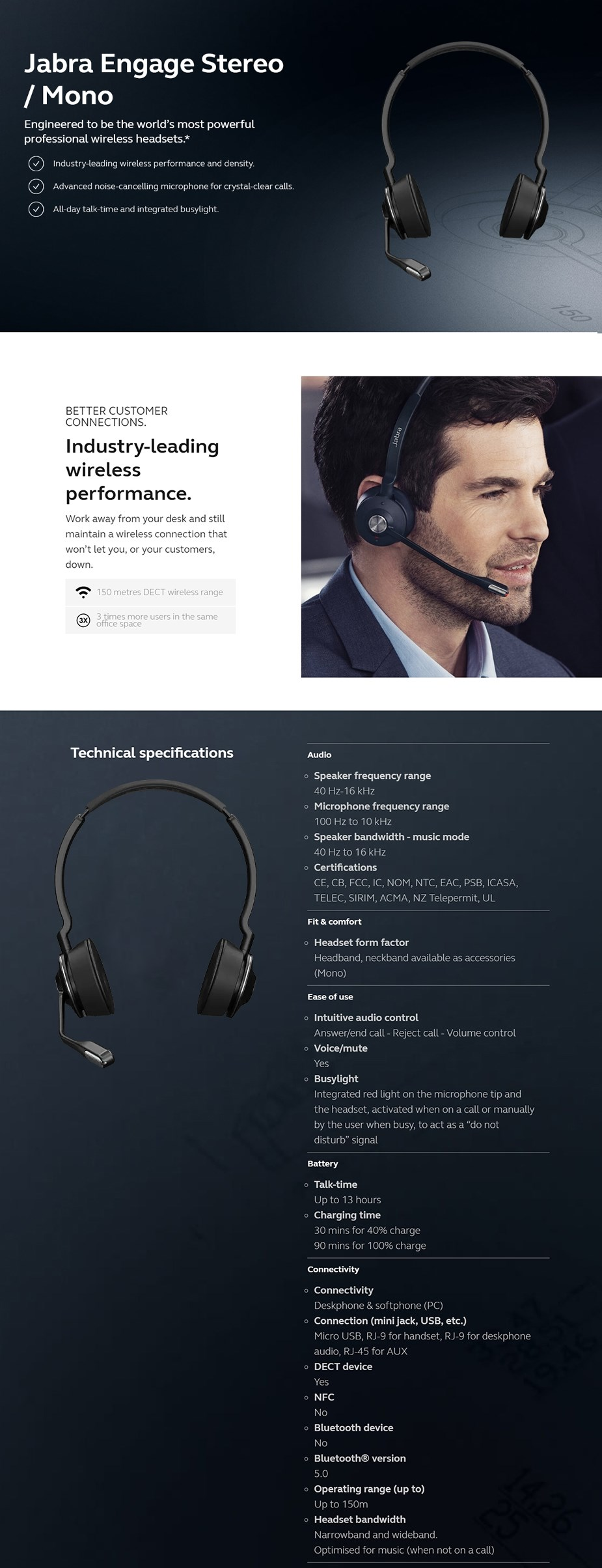Jabra Engage Stereo Replacement Headset  - Overview 1