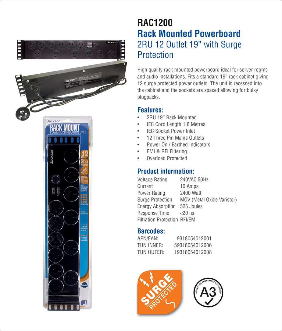 Jackson 12-Outlet 2RU Rack Mounted Powerboard - Overview 1