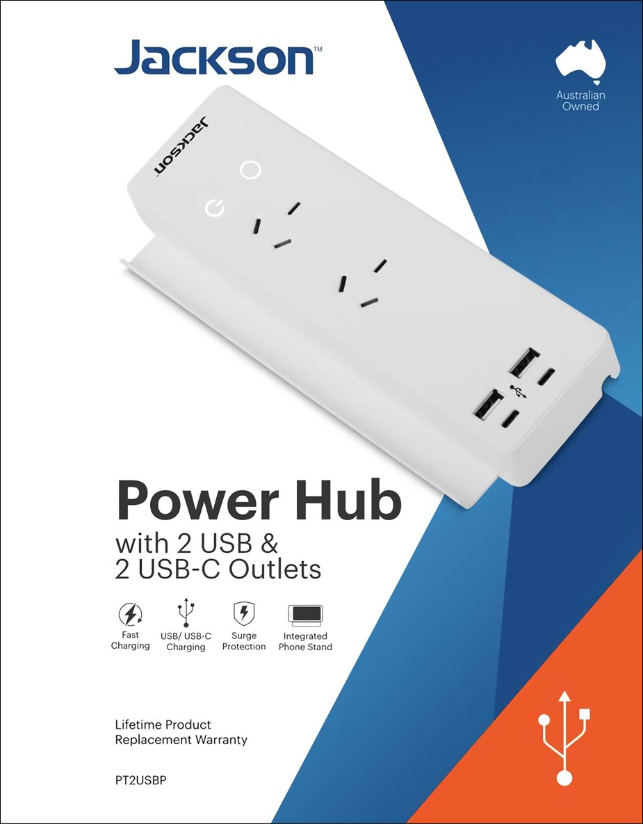 Jackson 2-Outlet PowerHub with 4 Multi-USB Ports - Overview 1