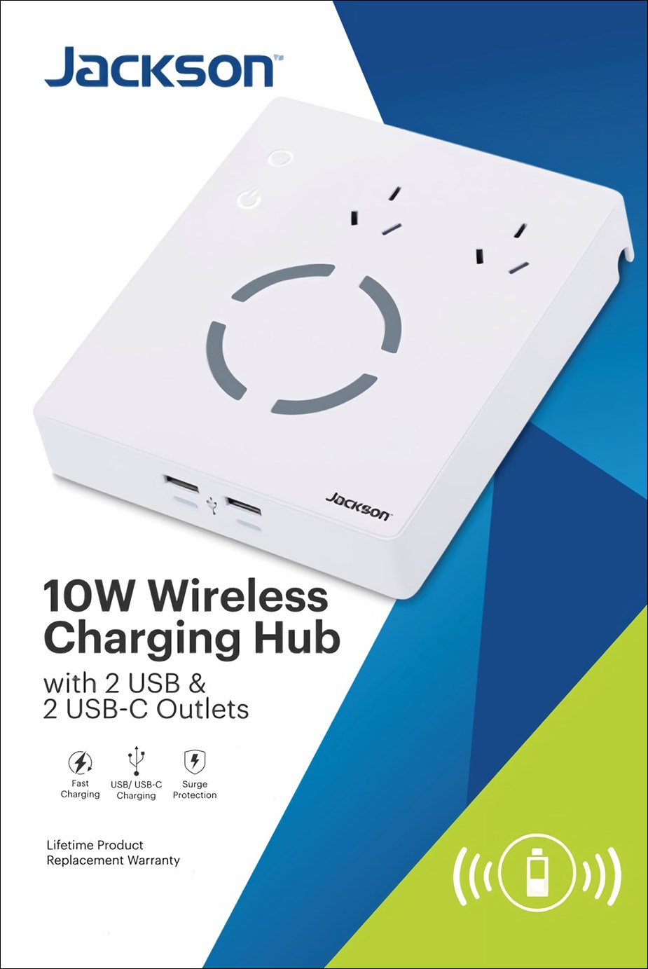Jackson 2-Outlet PowerHub with 4 USB Ports & 10W Wireless Charging - Overview 1