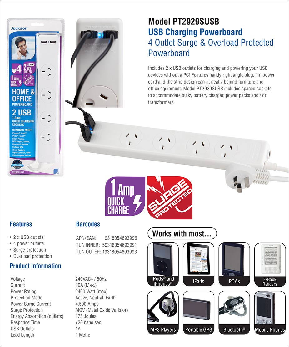 Jackson 4-Outlet Surge Protected Powerboard with 2 USB Charging Ports - Overview 1