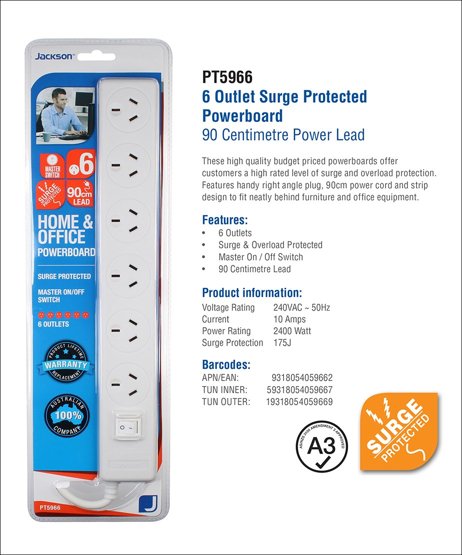 Jackson 6-Outlet Surge Protected Powerboard - Overview 1