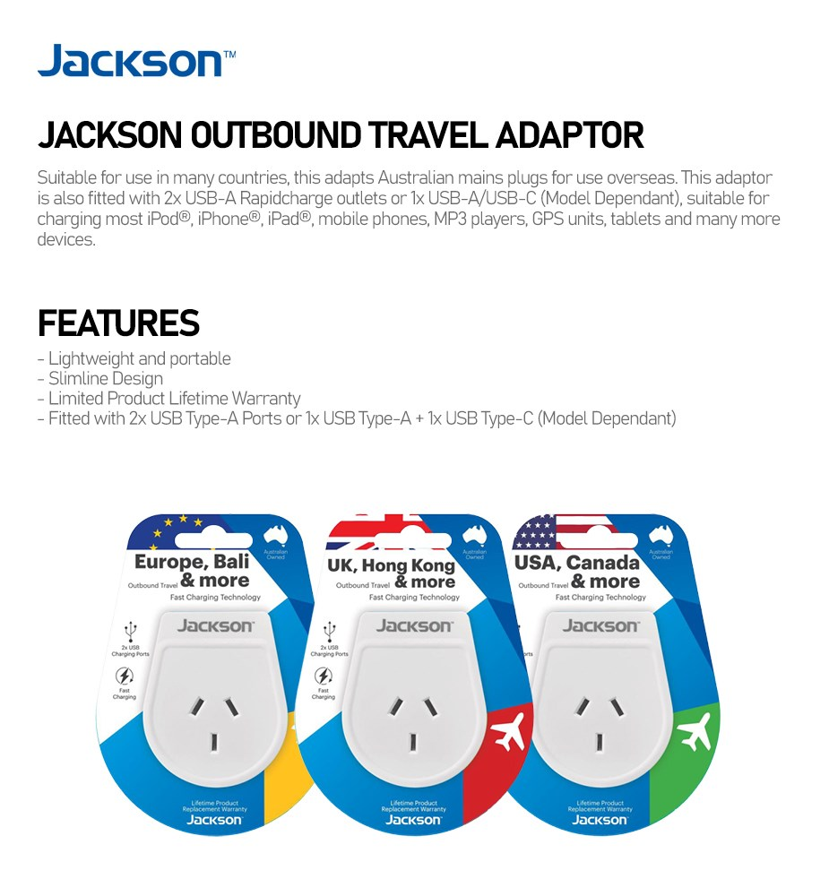 Jackson Outbound Travel Adapter - Overview 1