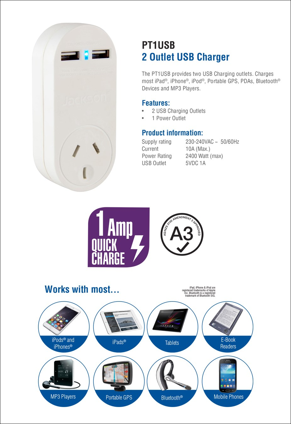 Jackson Outlet Power Adapter with 2 USB Charging Ports - Overview 1