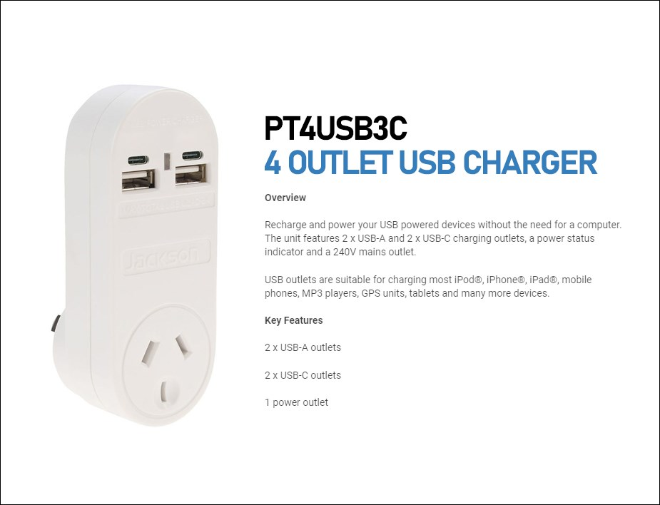 Jackson Outlet Power Adapter with 4 Multi-USB Charging Ports - Overview 1