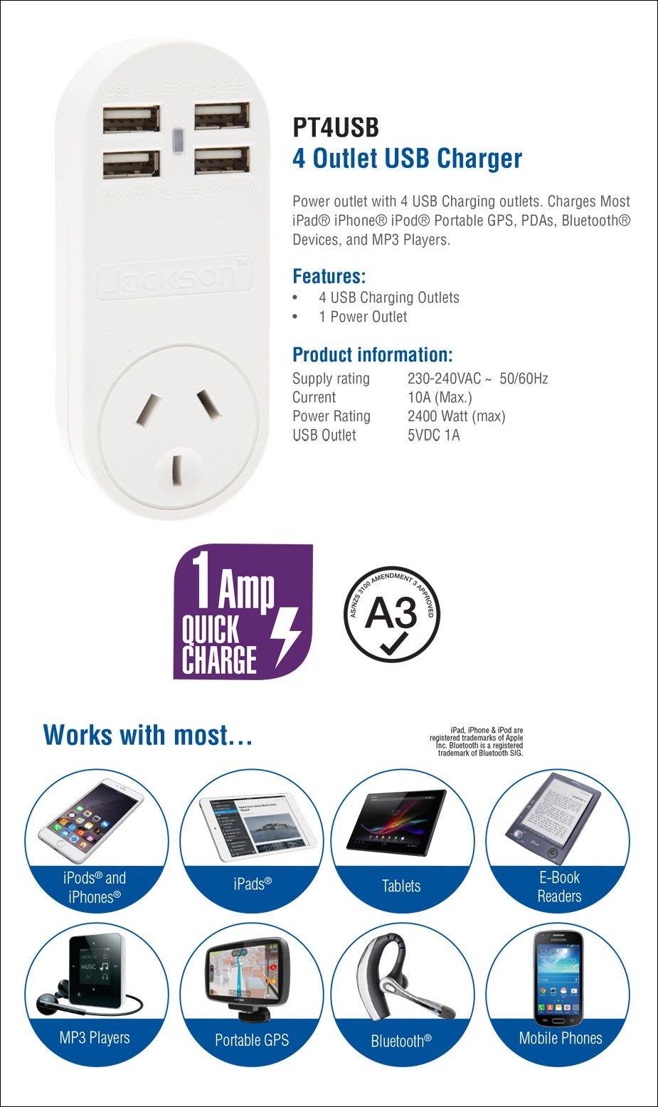Jackson Outlet Power Adapter with 4 USB Charging Ports - Overview 1