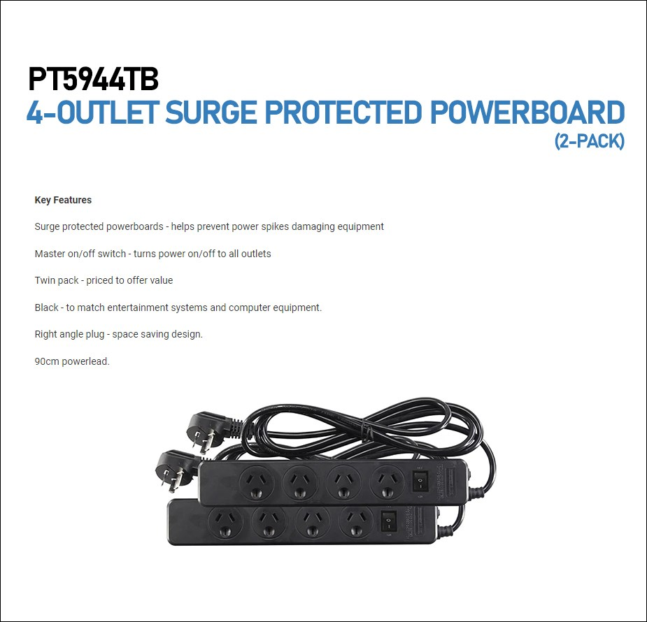 Jackson PT5944TB 4-Outlet Surge Protected Powerboard - 2 Pack - Overview 1