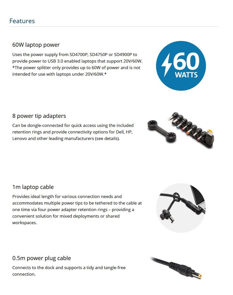 Kensington 60W USB 3.0 Power Splitter for SD4700P, SD4750P & SD4900P - Overview 1