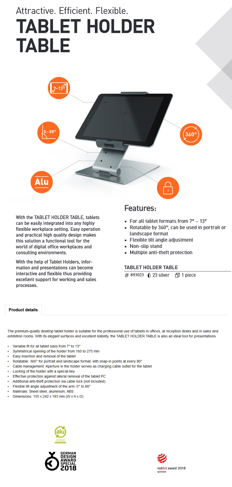 """Kensington 893023 Durable Universal 7 - 13"""" Tablet Holder with Desk Stand - Overview 1"""