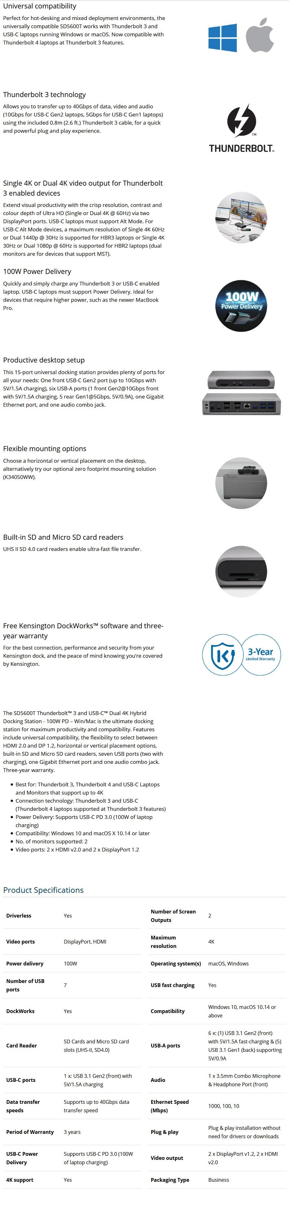 Kensington K34009AP Thunderbolt 3 and USB-C Dual 4K Hybrid Docking Station - Desktop Overview 1