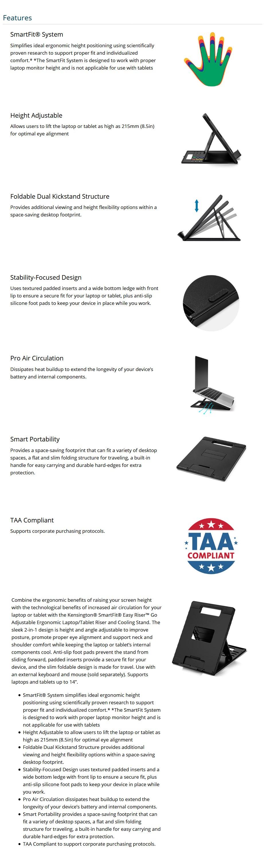 Kensington SmartFit Easy Riser Go Adjustable Cooling Stand – Black