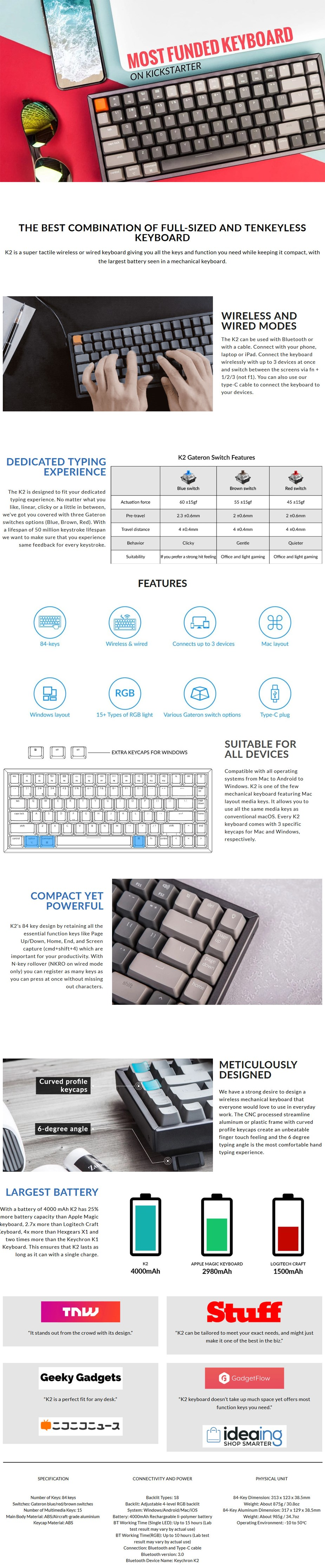 Keychron K2 Wireless Bluetooth Compact Mechanical Keyboard - Gateron Blue - Overview 2