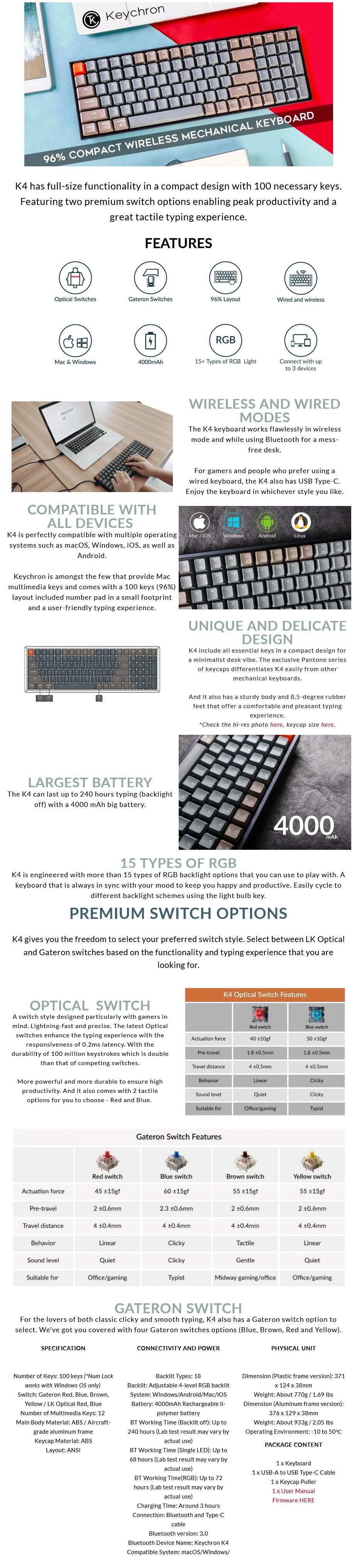 Keychron K4 Wireless RGB Mechanical Keyboard - Gateron Red - Overview 1