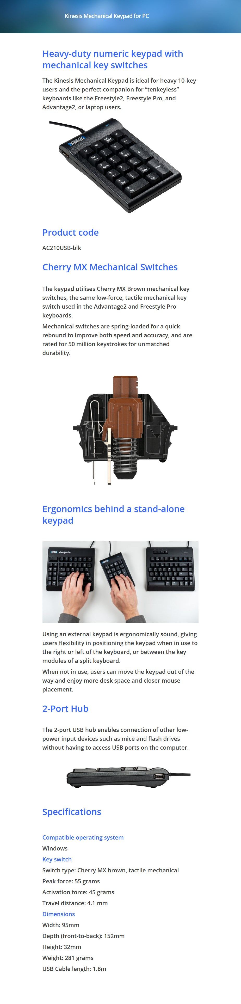 Kinesis AC210USB-blk Mechanical Keypad for PC - Overview 1