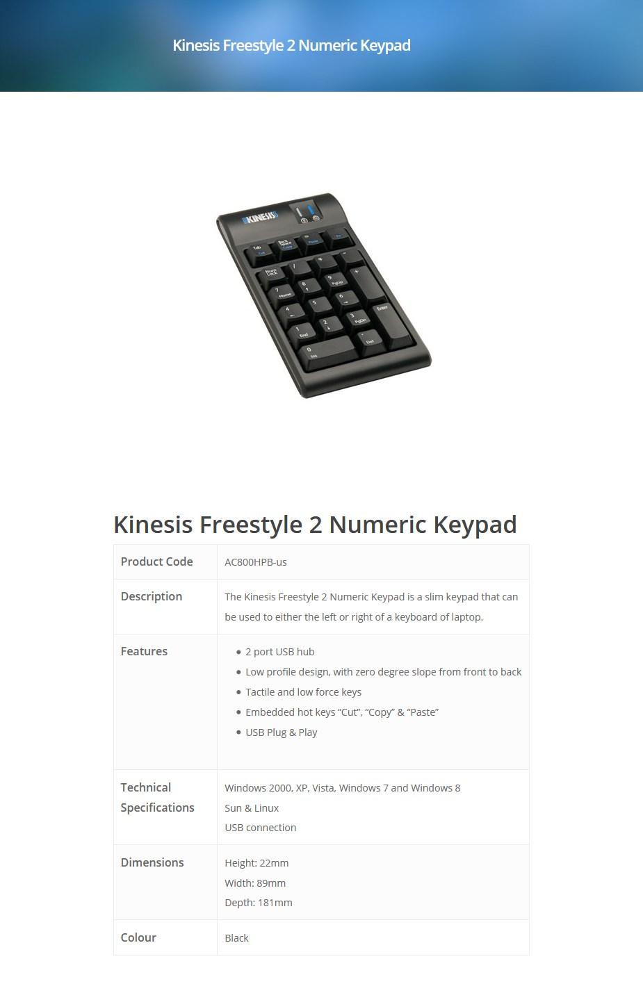 Kinesis AC800HPB-us Freestyle 2 Numeric Keypad - Overview 1