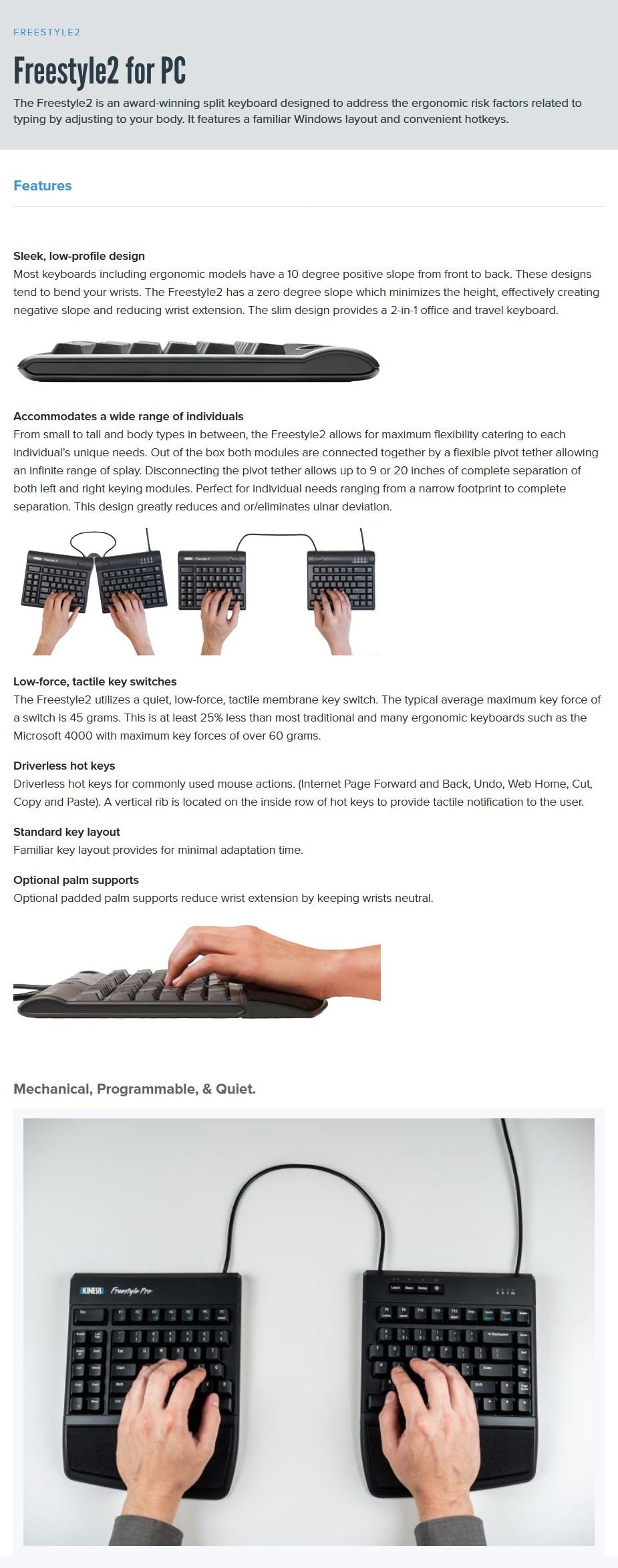 Kinesis Freestyle 2 KB800PB-us-2 PC Split Keyboard - Overview 1