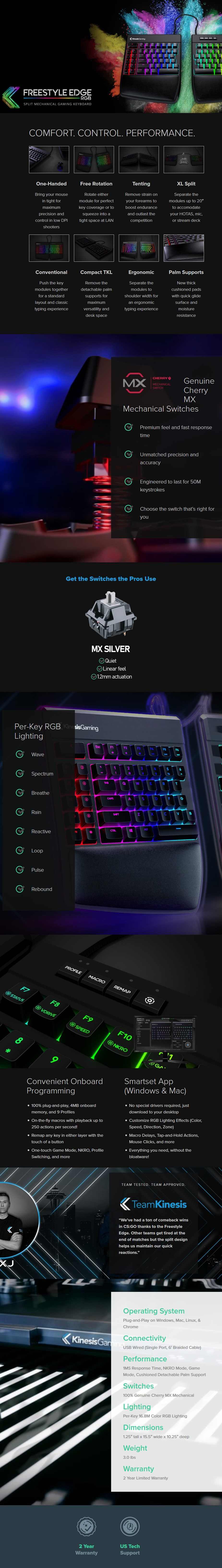 Kinesis Gaming Freestyle Edge RGB Mechanical Gaming Keyboard - Cherry MX Silver - Overview 1
