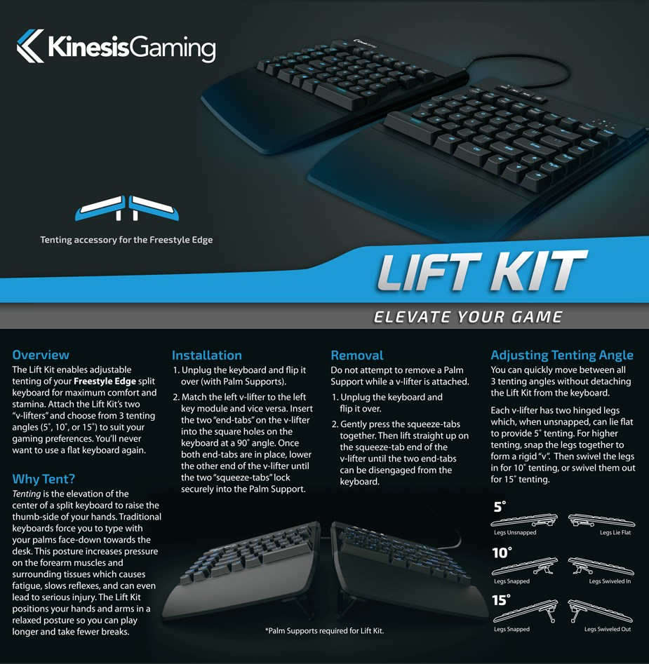 Kinesis Gaming Lift Kit for Freestyle Edge - Overview 1