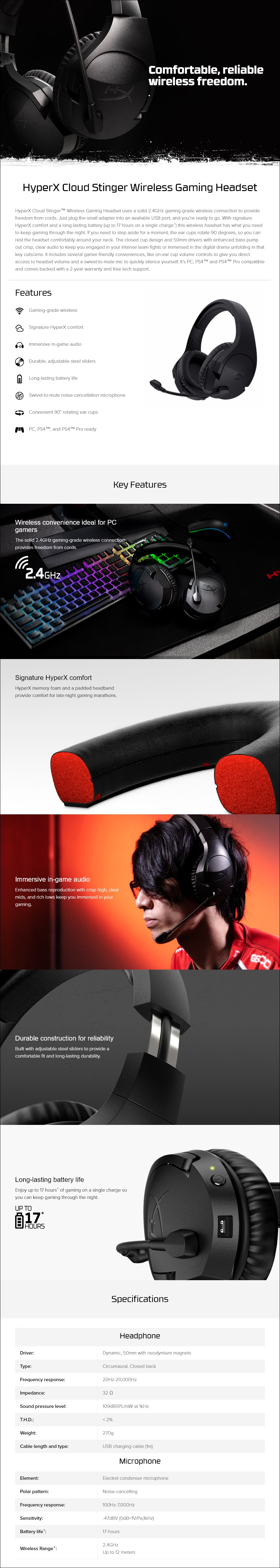 Kingston HyperX Cloud Stinger Wireless Gaming Headset - Overview 1