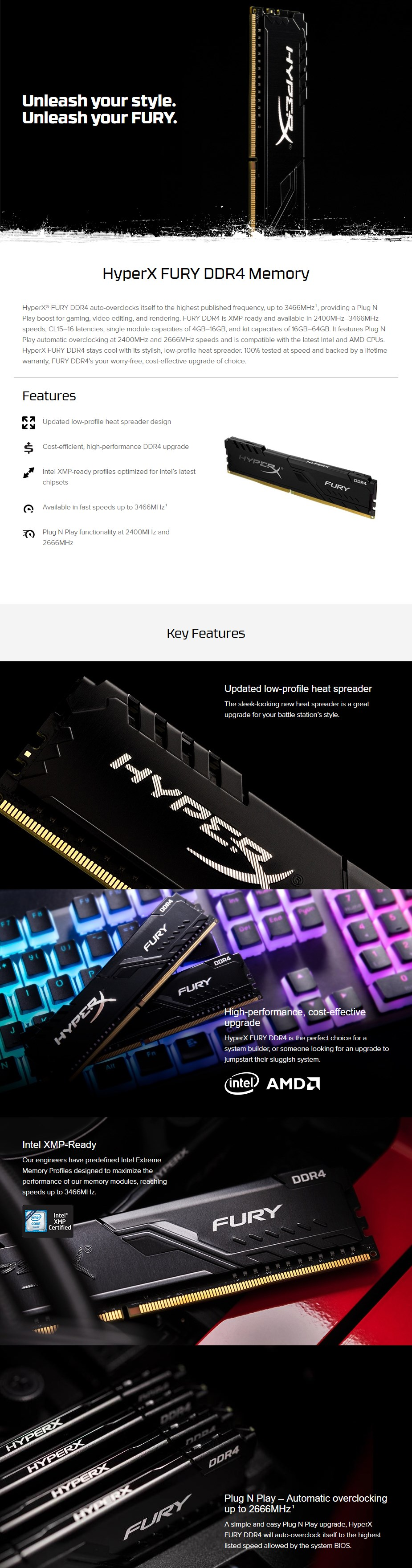 Kingston HyperX FURY 16GB (2x 8GB) DDR4 2666MHz Memory Black - Overview 1