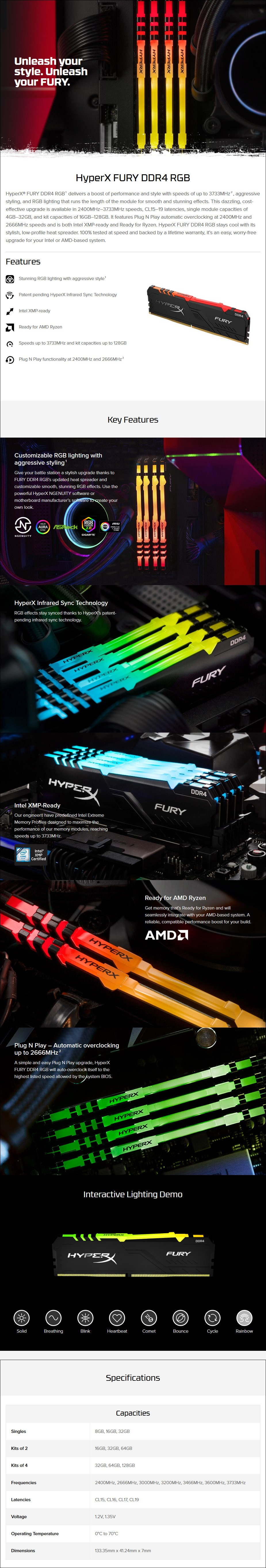 Kingston HyperX FURY RGB DDR4 3600MHz Memory - Overview 1