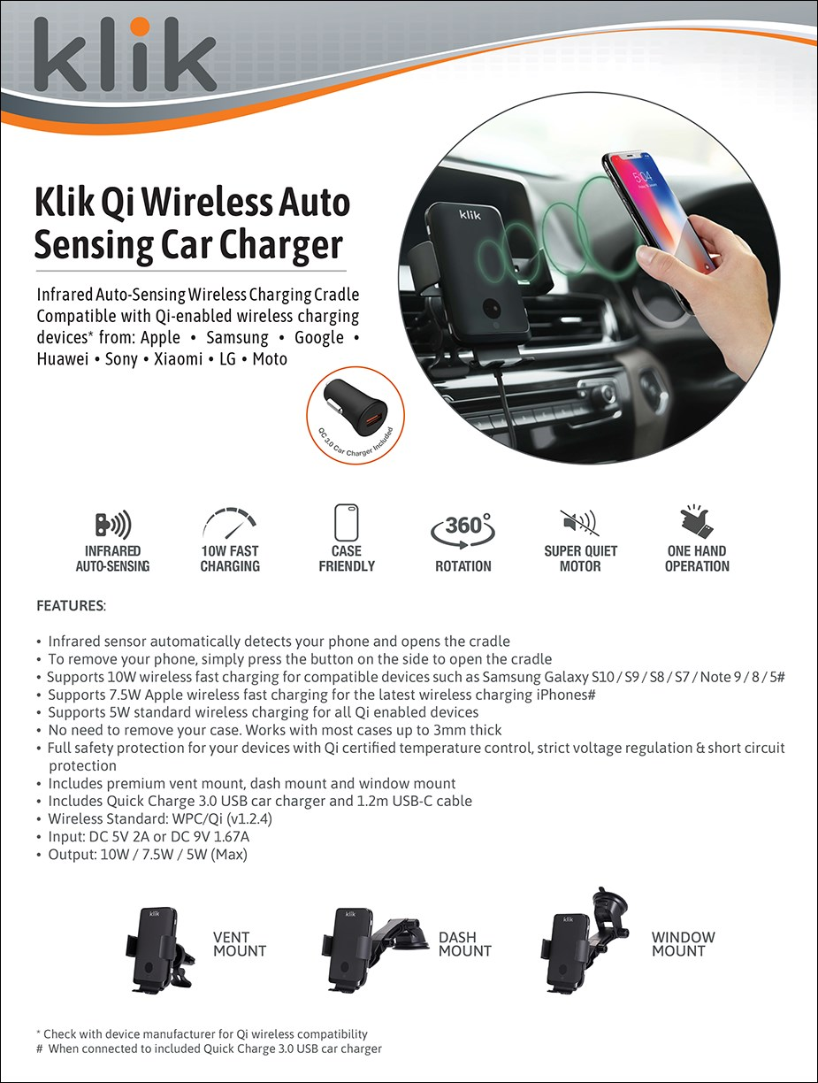 Klik 10W Qi Wireless Auto Sensing Car Charger - Overview 1