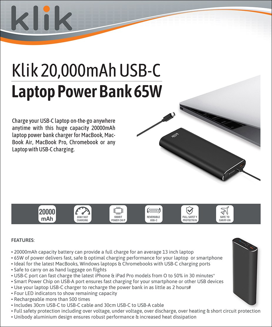 Klik 20000mAh 65W USB Type-C Laptop Power Bank - Overview 1