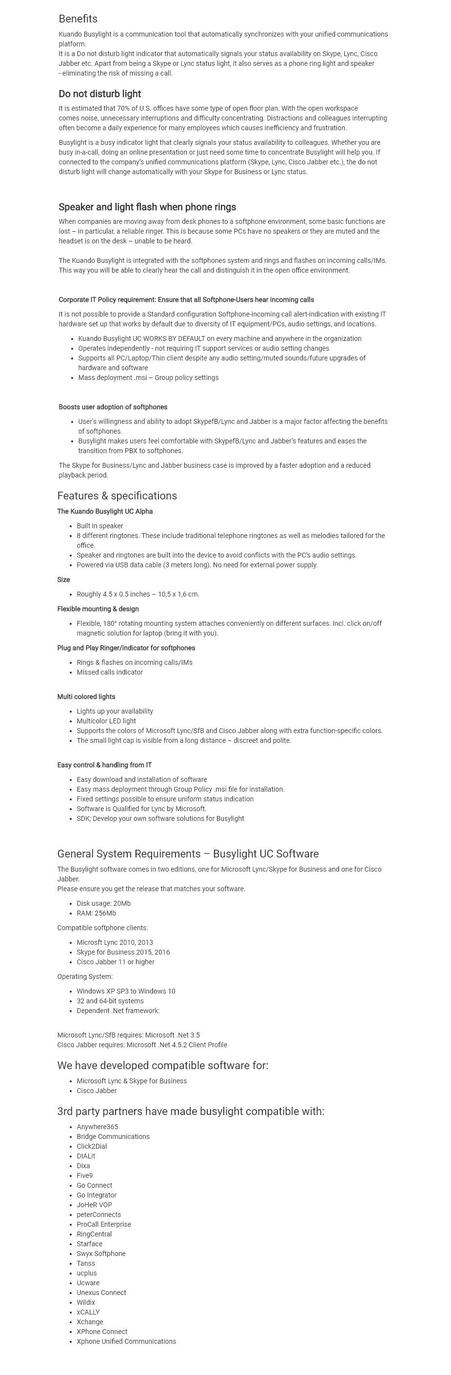 Kuando Busylight UC Alpha - Overview 1