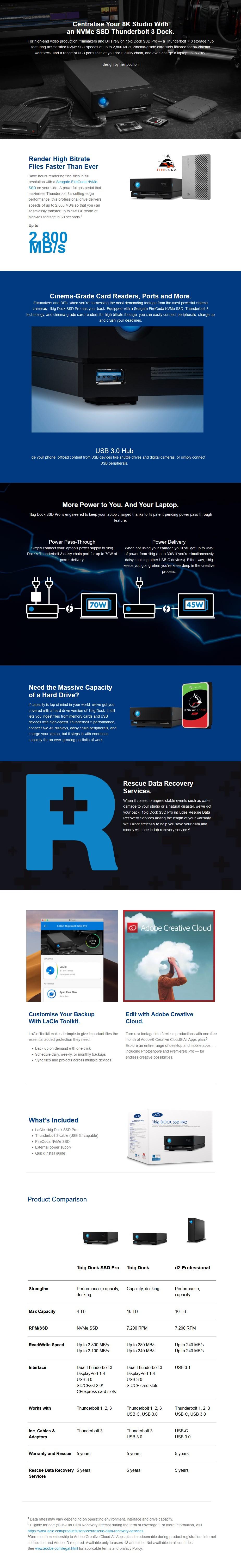LaCie 1big Dock SSD Pro 4TB Thunderbolt 3 External SSD Drive - Overview 1