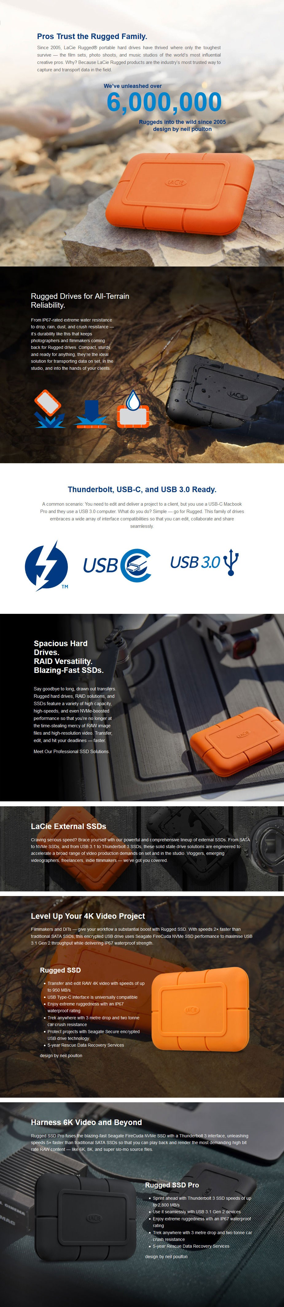 LaCie 500GB Rugged USB 3.1 Gen 2 Type-C Portable External SSD - Desktop Overview 1