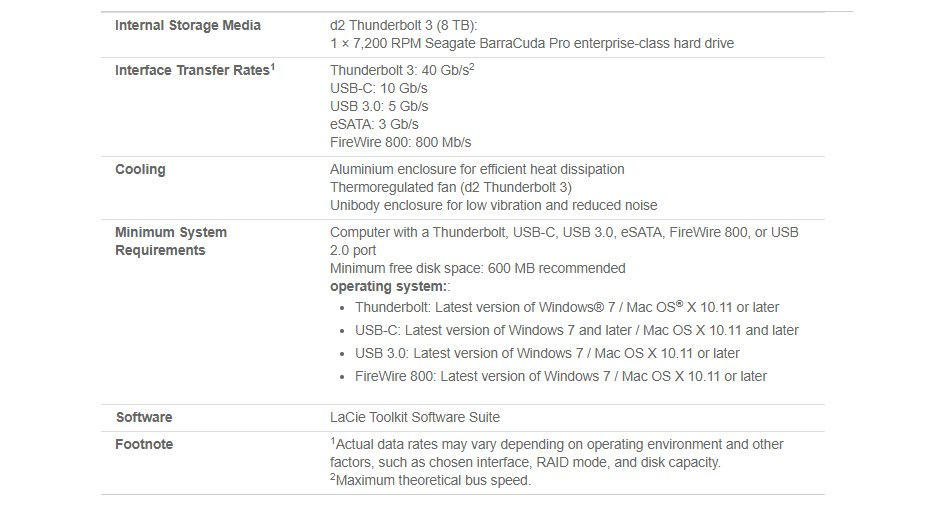 LaCie 8TB Thunderbolt 3 & USB-C 3.1 Desktop External Hard Drive STFY8000400 - Overview 2