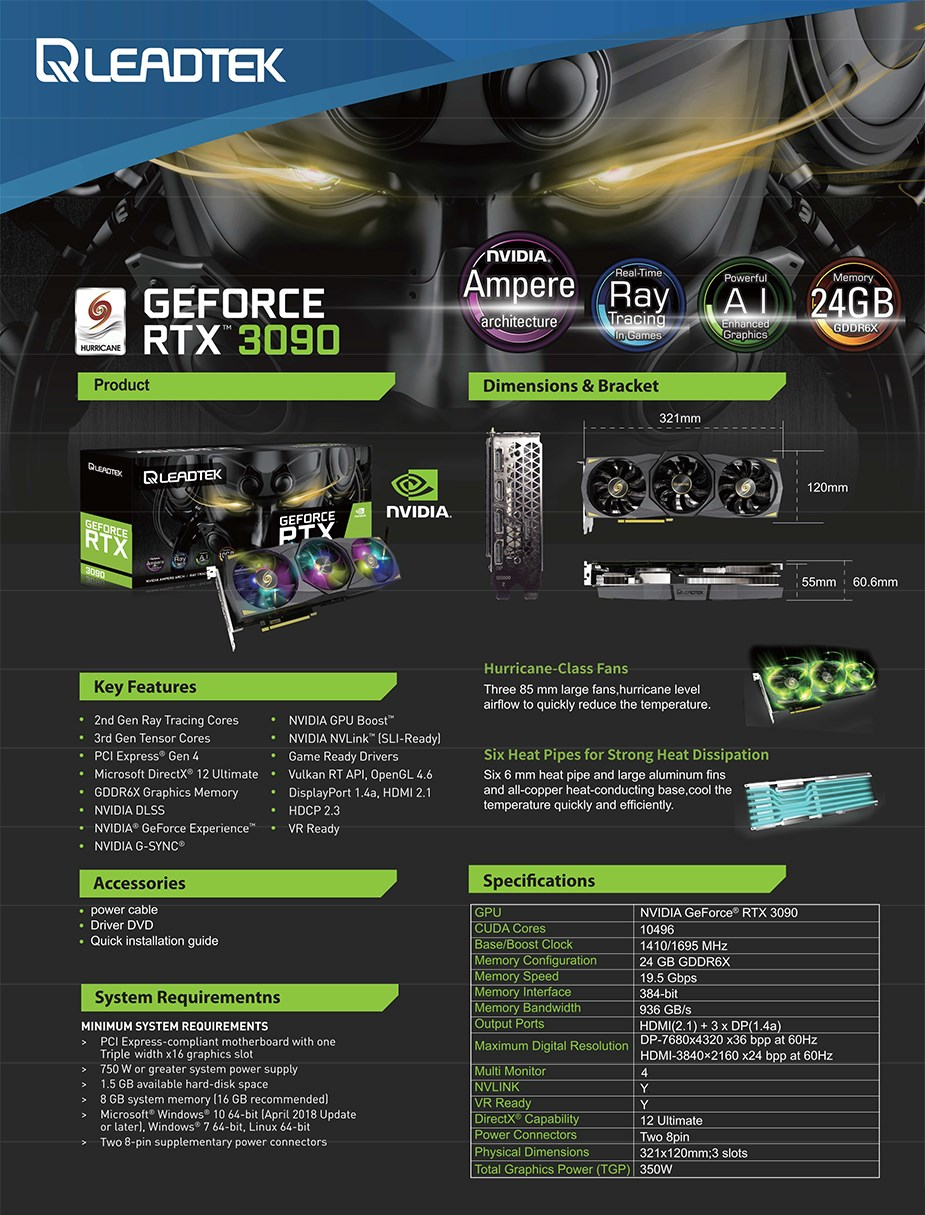 Leadtek GeForce RTX 3090 HURRICANE 24GB Video Card - Overview 1