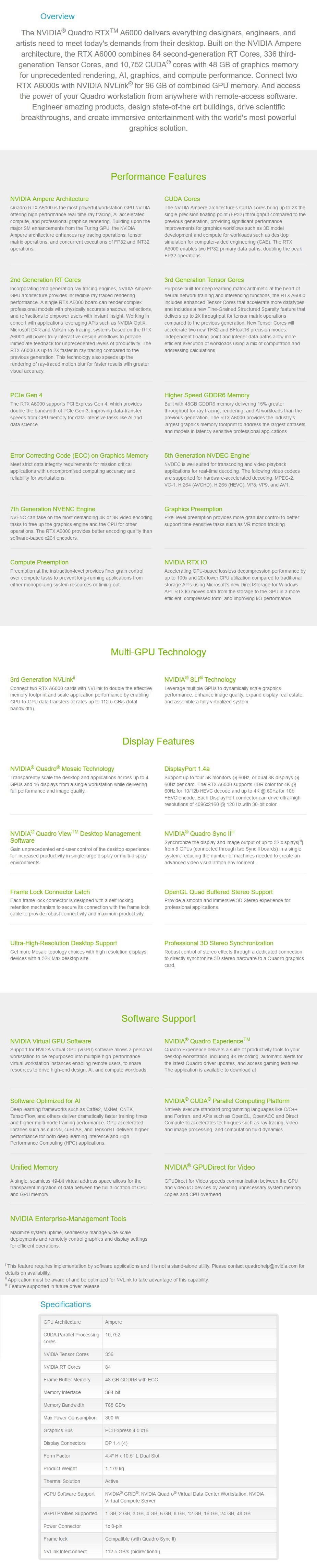 Leadtek NVIDIA Quadro RTX A6000 48GB Video Card - Overview 1