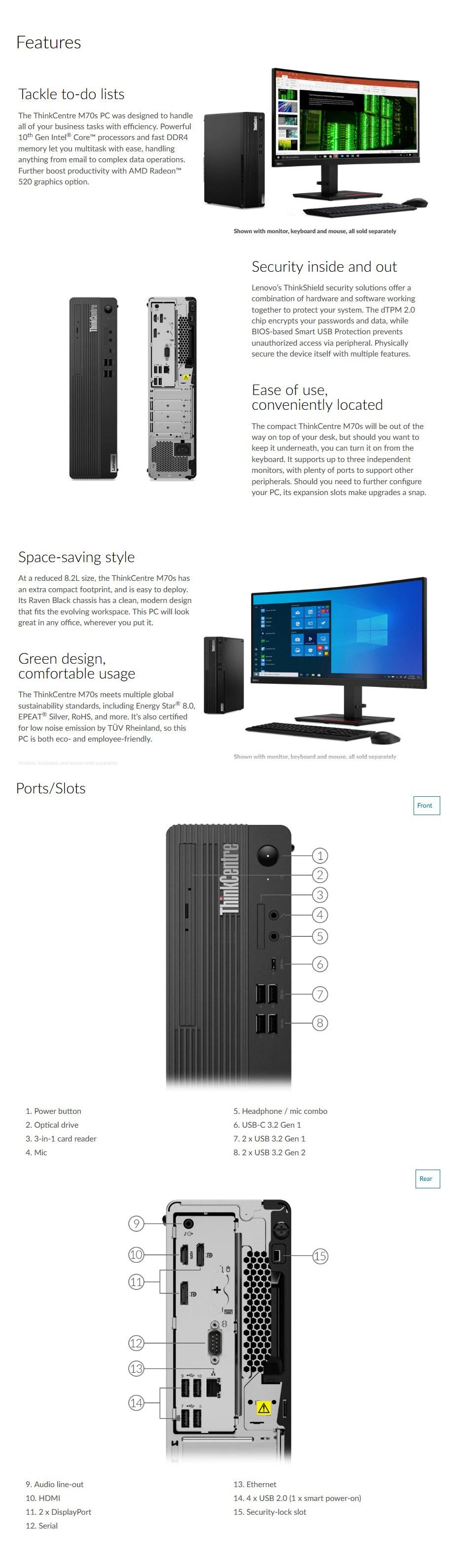 Lenovo M70S SFF Desktop i5-10400 8GB 256GB Windows 10 Pro - Overview 1
