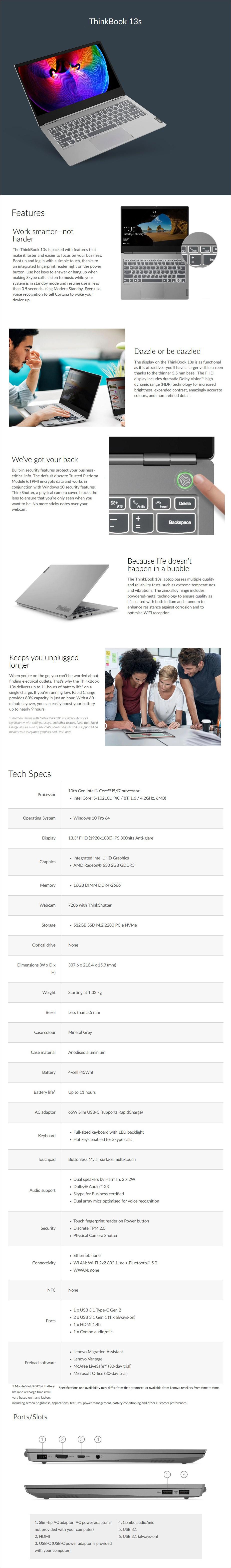 "Lenovo ThinkBook 13s 13.3"" Laptop i5-10210U 16GB 512GB SSD W10P - Overview 1"