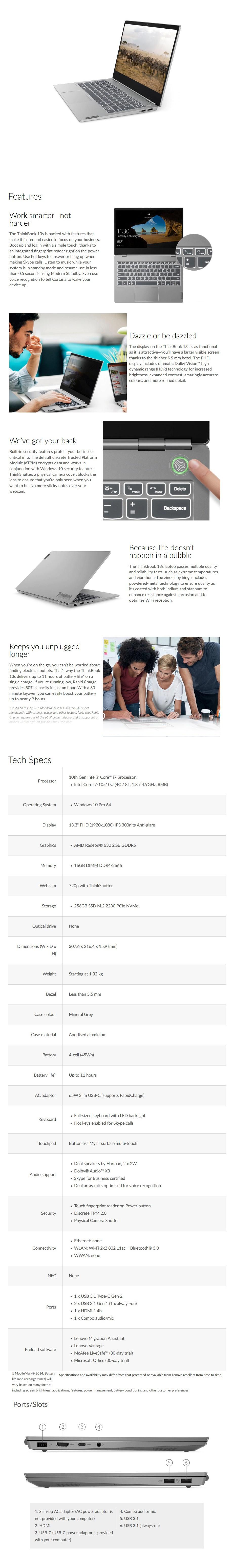 "Lenovo ThinkBook 13s 13.3"" Laptop i7-10510U 16GB 256GB SSD Radeon 630 W10P - Overview 1"