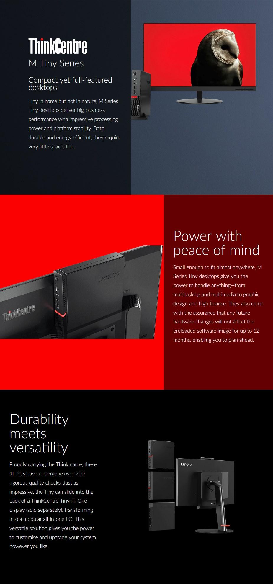 Lenovo ThinkCentre M720Q Tiny PC i7-9700T 8GB 256GB Win10 Pro - Desktop overview 1